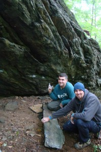 Steve and Matt with their trundled flake - the black area just up and left from Matt's head is where the flake once was.