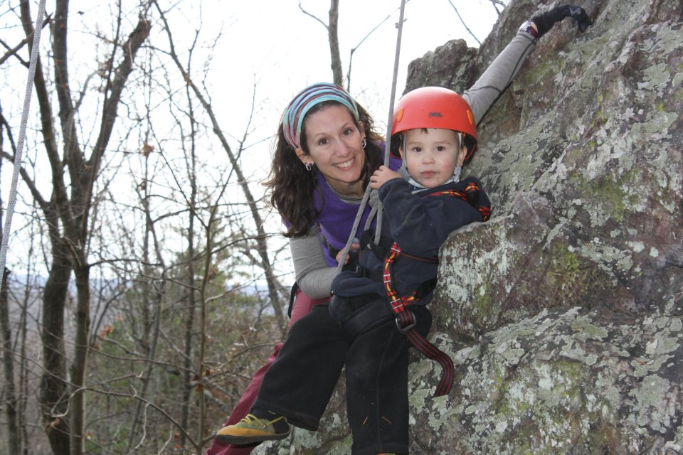 And C and Mommy enjoying a day on real rock together at Hidden Wall