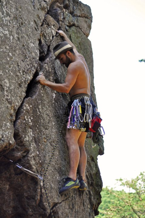 Eddy on the classic Finger Crack (5.8), early in his quest.