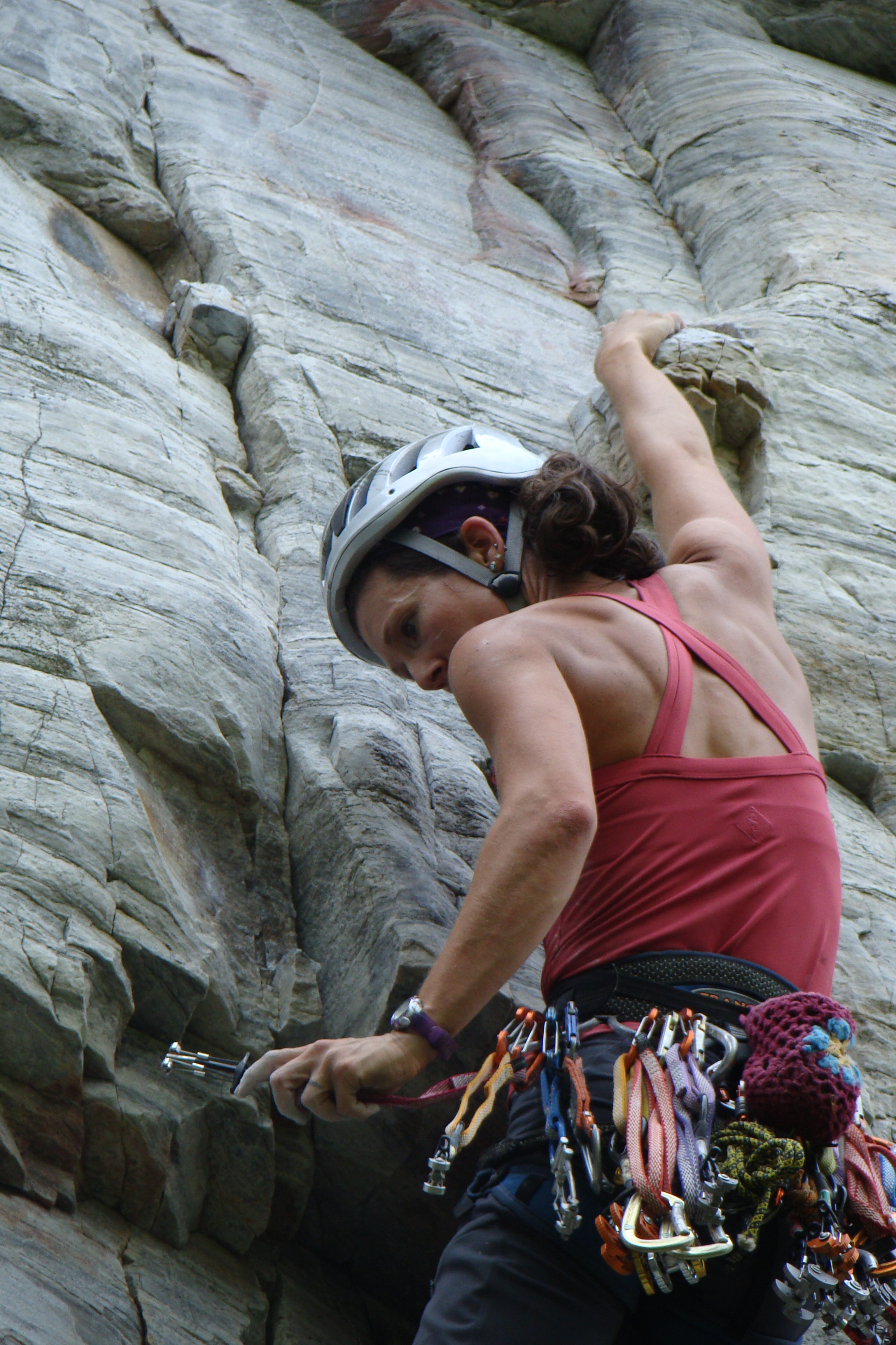 Fiddling with crux gear on Mighty Mouse (5.11d)