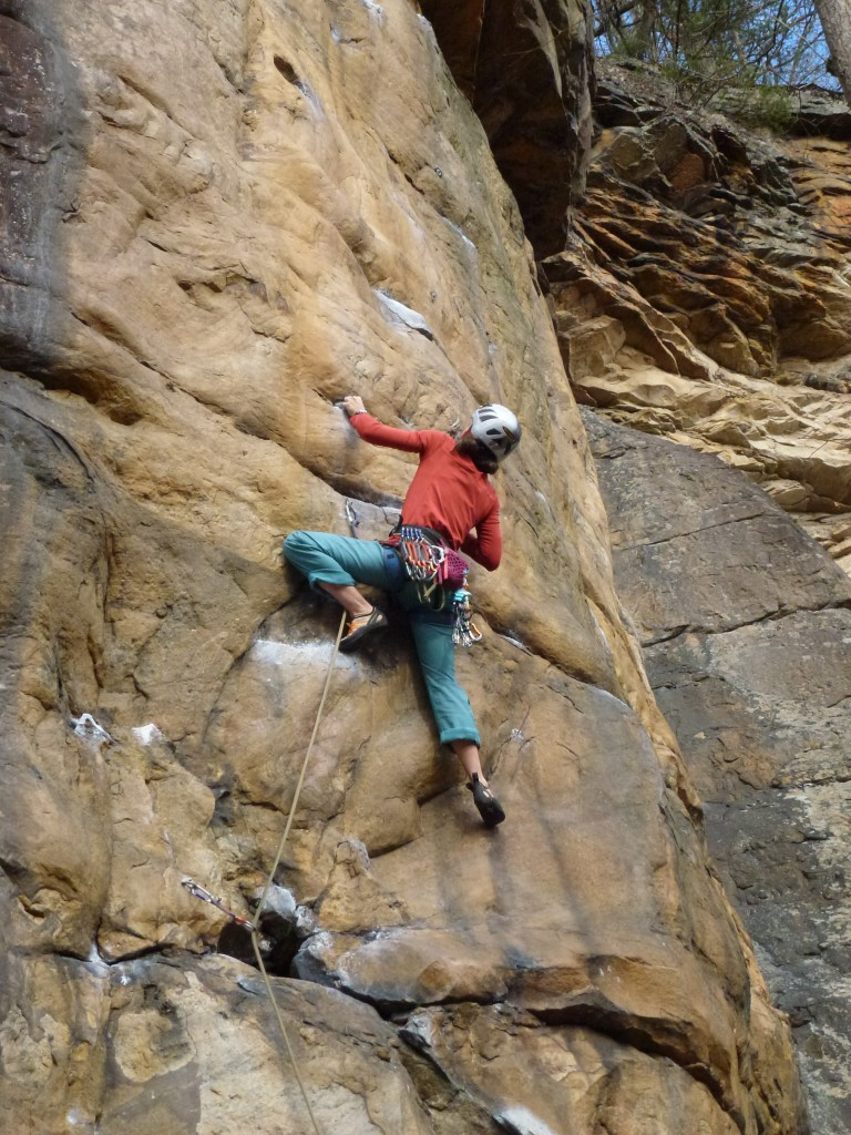 Prepping for the crux on Aesthetica (5.11c)