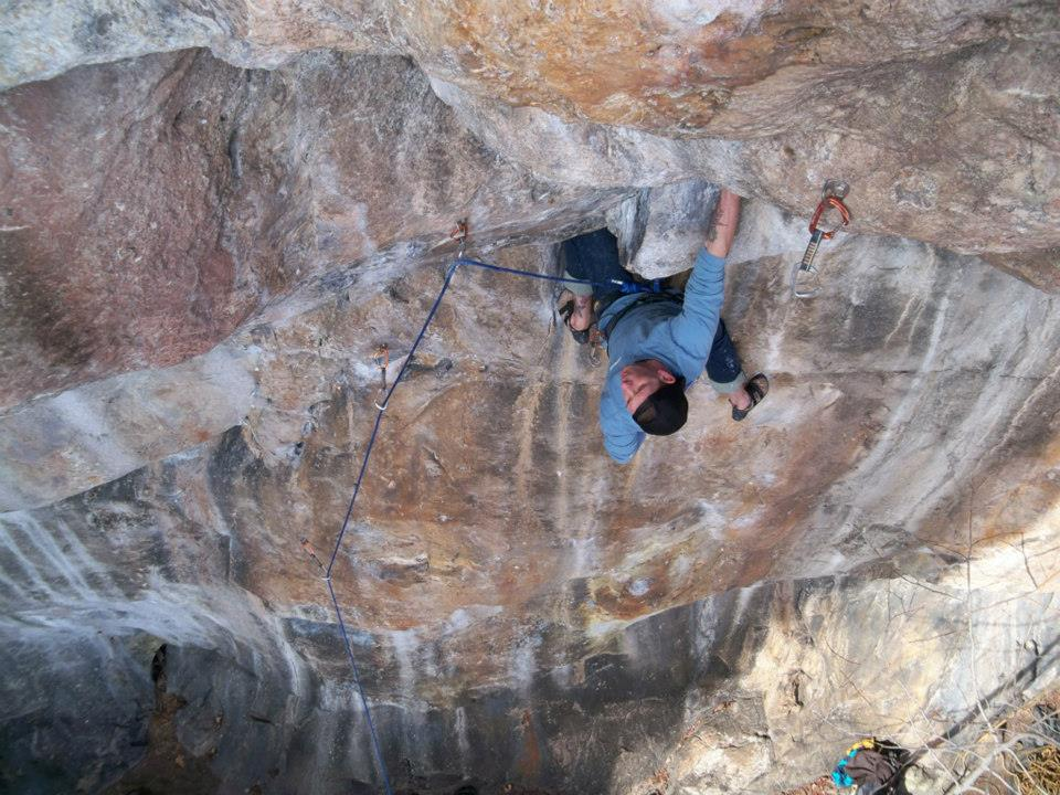 Rob preparing to get cruxy on Slabster's Lament (5.12a)
