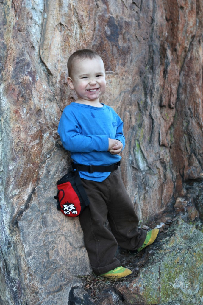 Showing off his new gear at Crowders Mountain in January of 2012