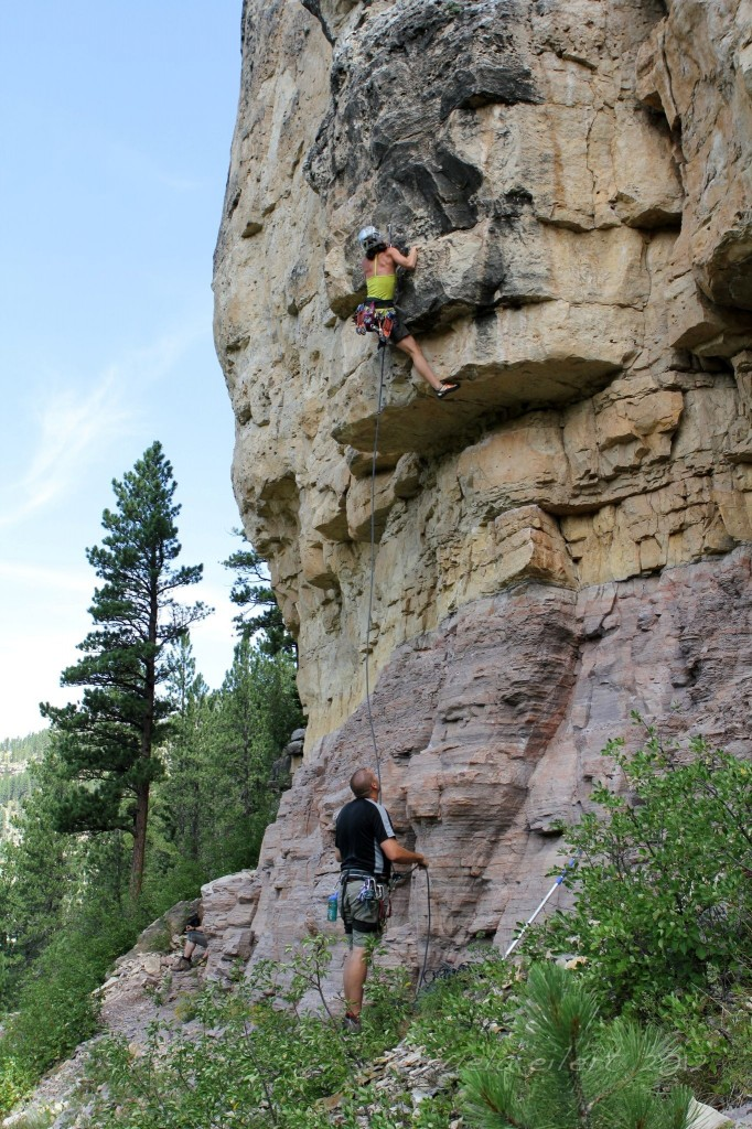 Crag-Daddoo giving an attentive belay in Spearfish Canyon, SD