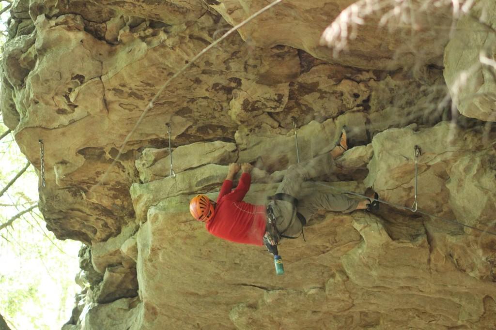 Crag-Daddoo gettin' horizontal on the Heresy roof