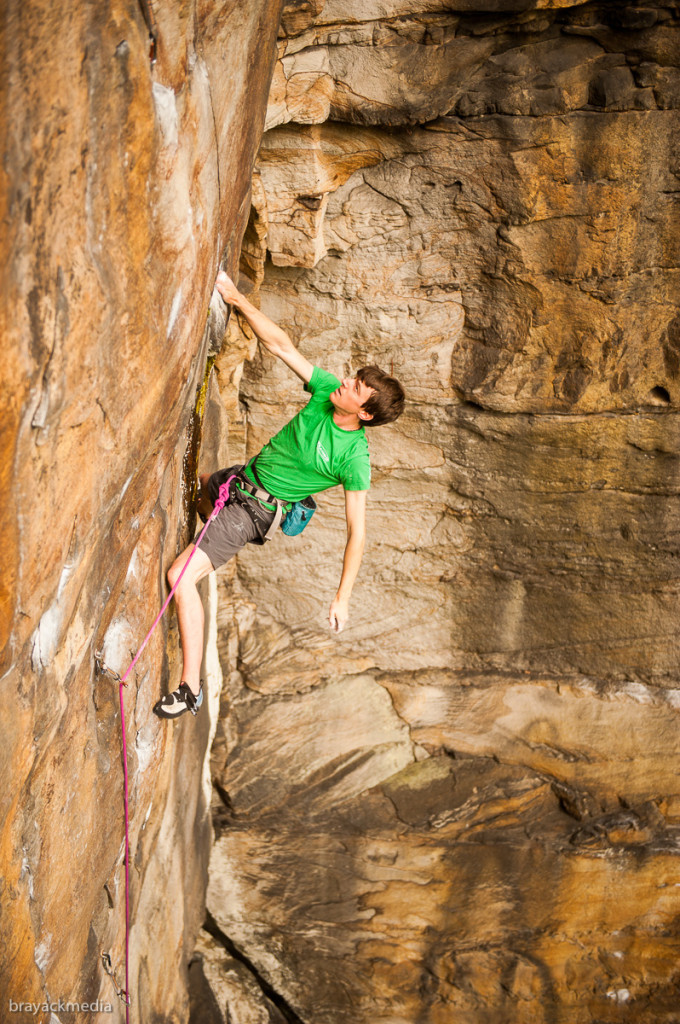 Adam looking pretty  casual on Thunderstruck (5.12b)