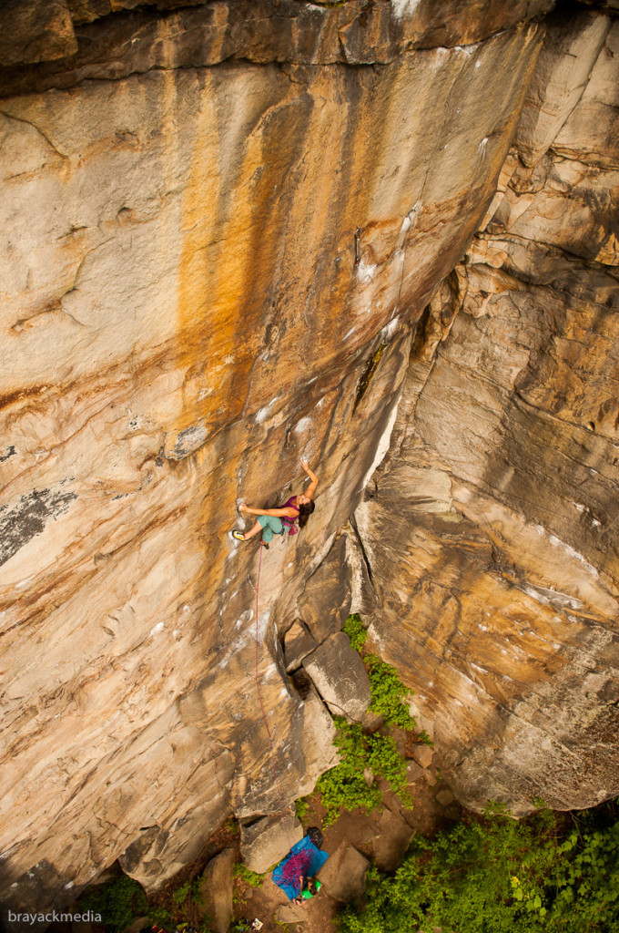 Mid-way up Thunderstruck (5.12b)