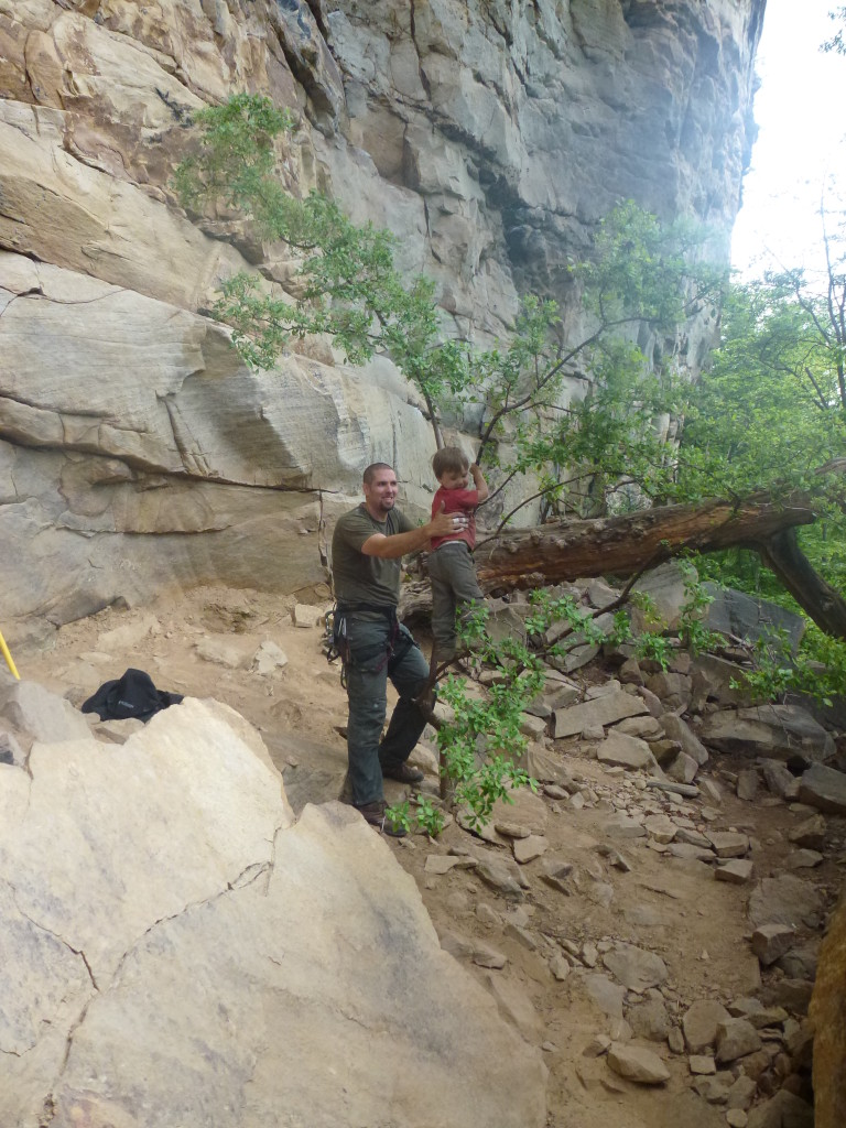 C getting a little bit of tree climbing in at the base of Tierrany Wall