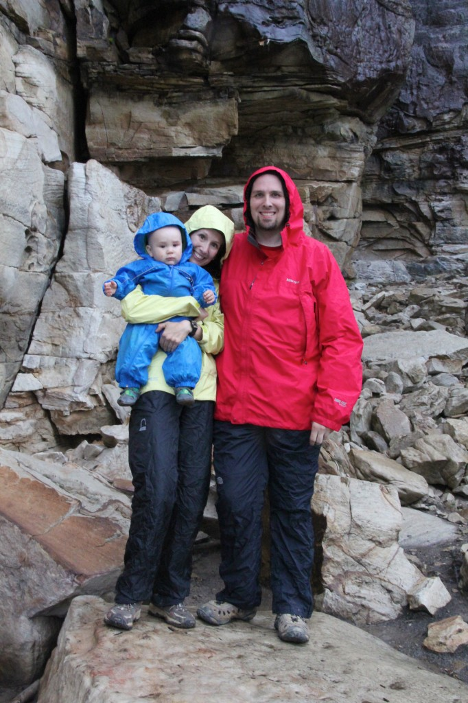 All decked out in our rain gear on a typical spring weekend at the New River Gorge!