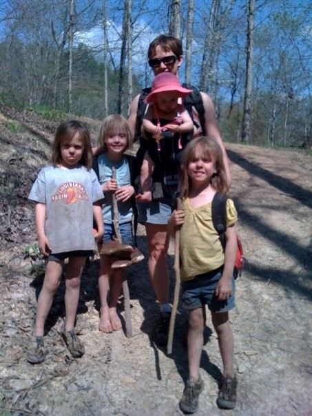 Charmagne's crazy crew hiking out after a fun but dirty day at the Red River Gorge!