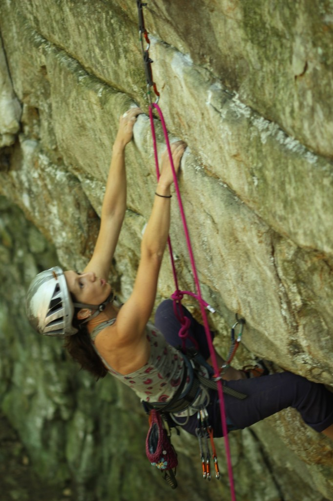 Prepping for the crux on Gangsta (5.12a)