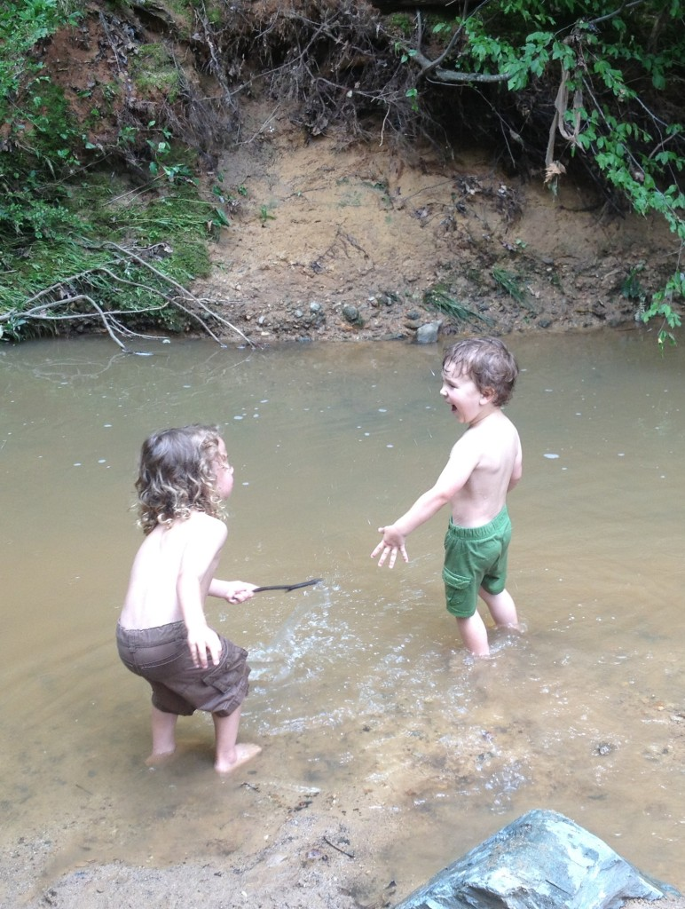Gettin' wet and wild at a local greenway creek!