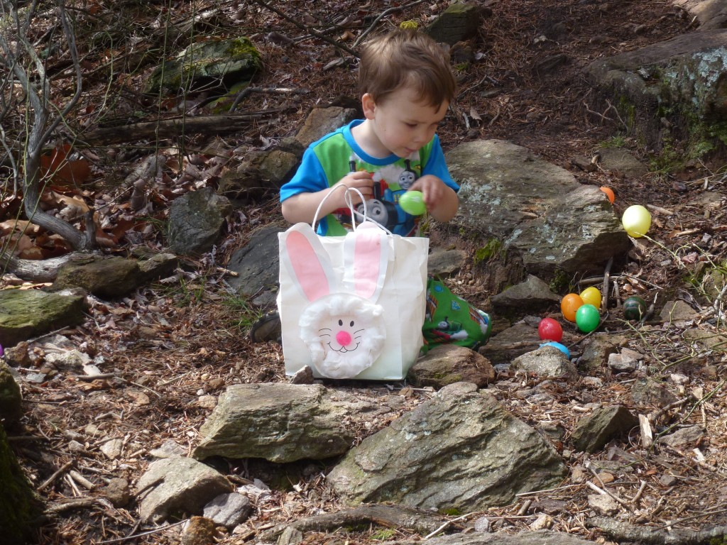 """""""Hiding"""" the eggs from Mommy."""