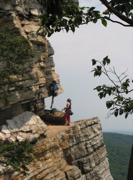 Tom and Anne climbing together out at the Gunks