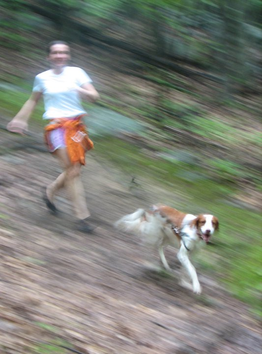 "Anne ""streaking"" with Royal, one of her favorite running partners"