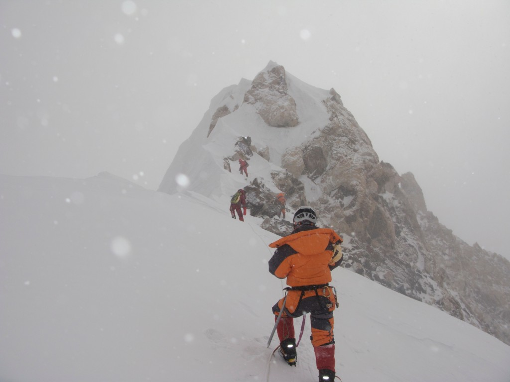 Chris Klinke from Trango on the summit ridge of Makalu