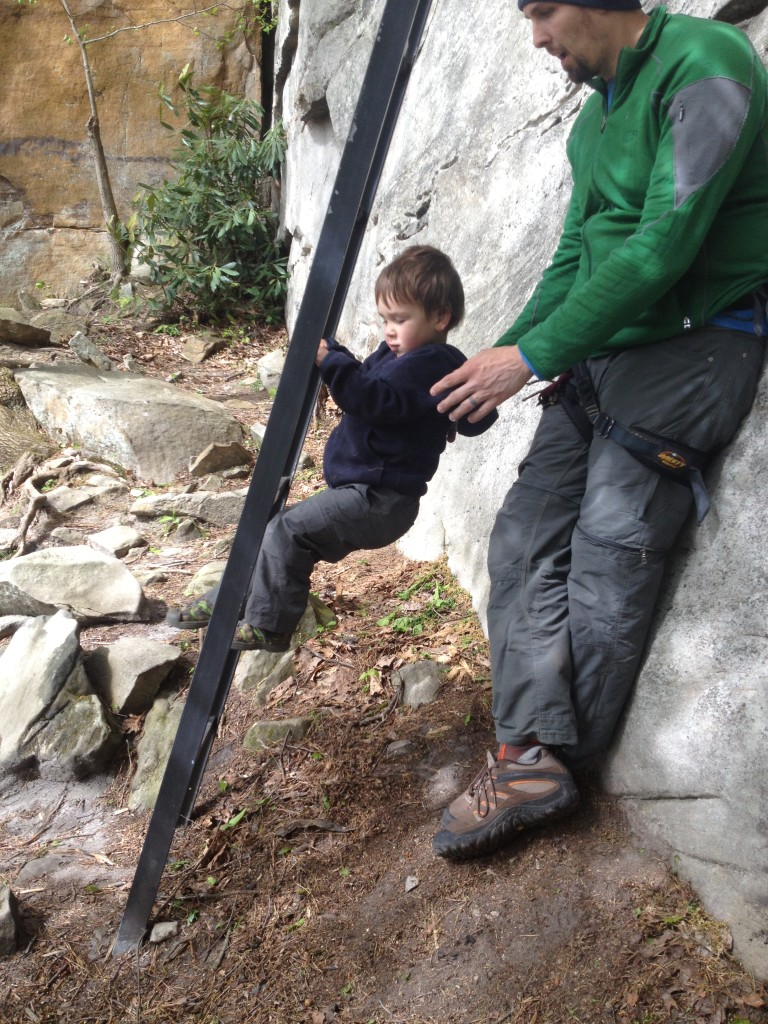 C projecting the Honeymooner's Ladders while we all warmed up on Muckraker (5.11a)