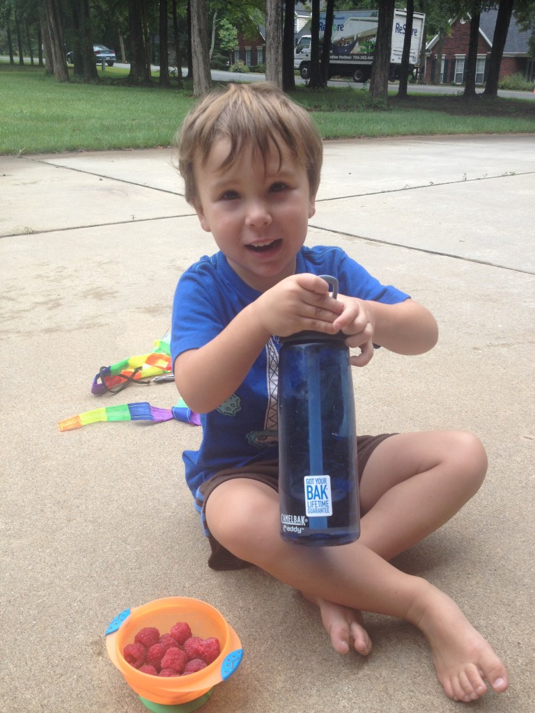 The Eddy bottle in action at snack time