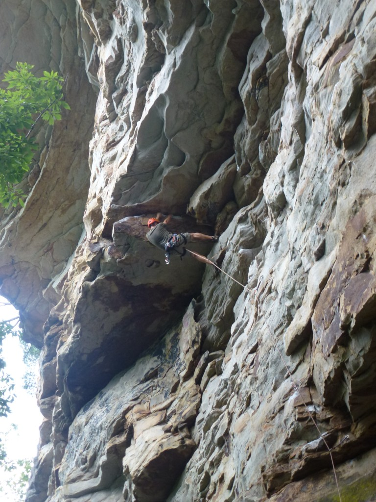 Steve cranking out the roof of The Rail (5.11c)