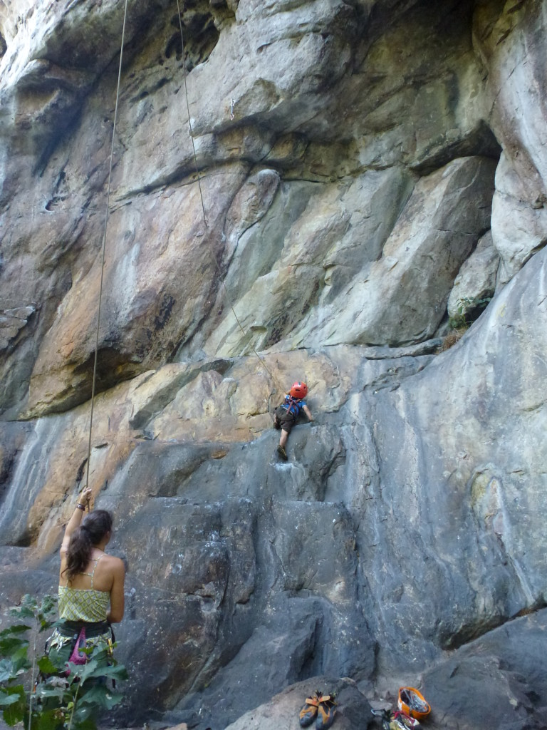 C on the opening slab of a local classic - The Whining, 5.11d.  It won't be long before he's running laps on it for his warm-up!