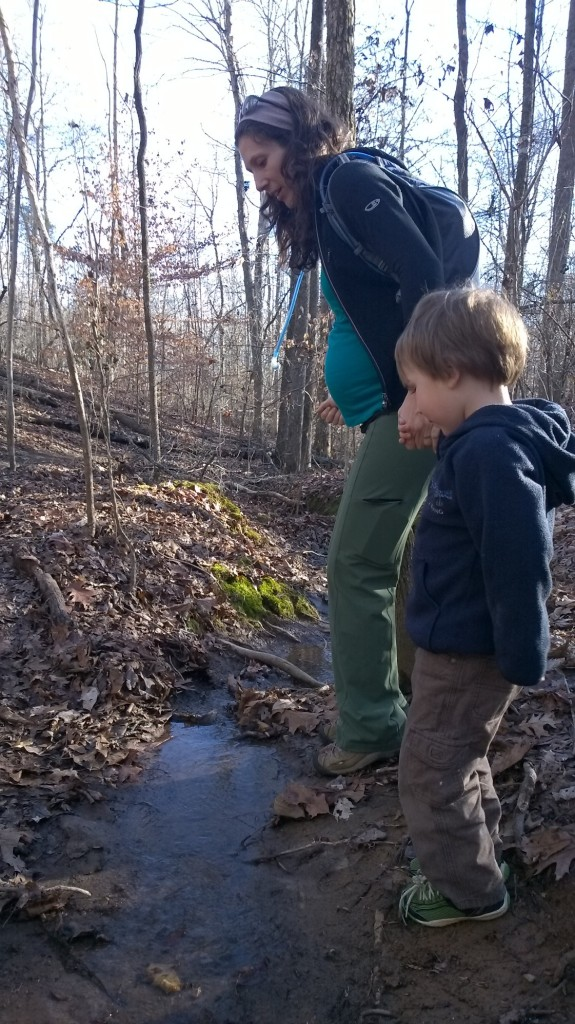 A little impromptu creek-jumping on a muddy hike at 32 weeks.