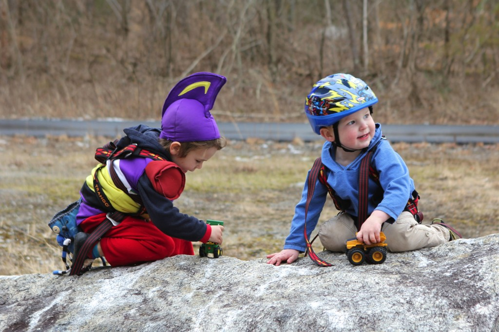 Crag-kiddos representin' with their matching Trango harnesses as they wait their turn to climb.