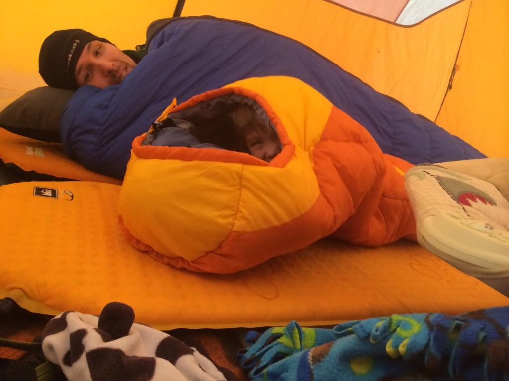 Big C having a blast in his new sleeping bag!