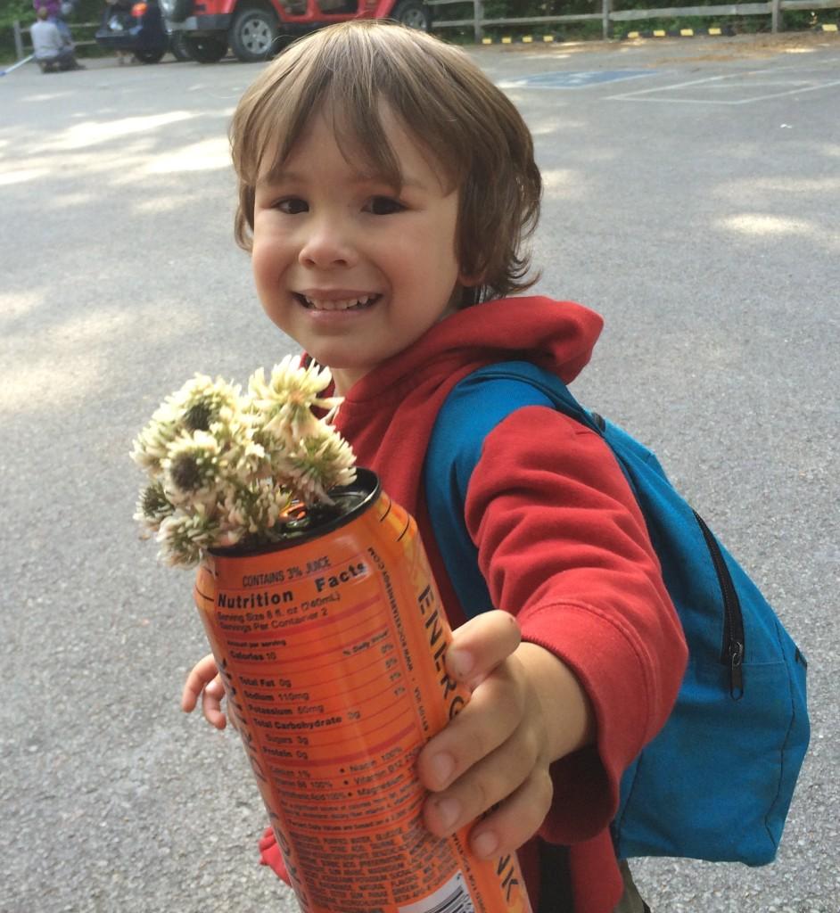 Impromptu vase after some breakfast clover-picking