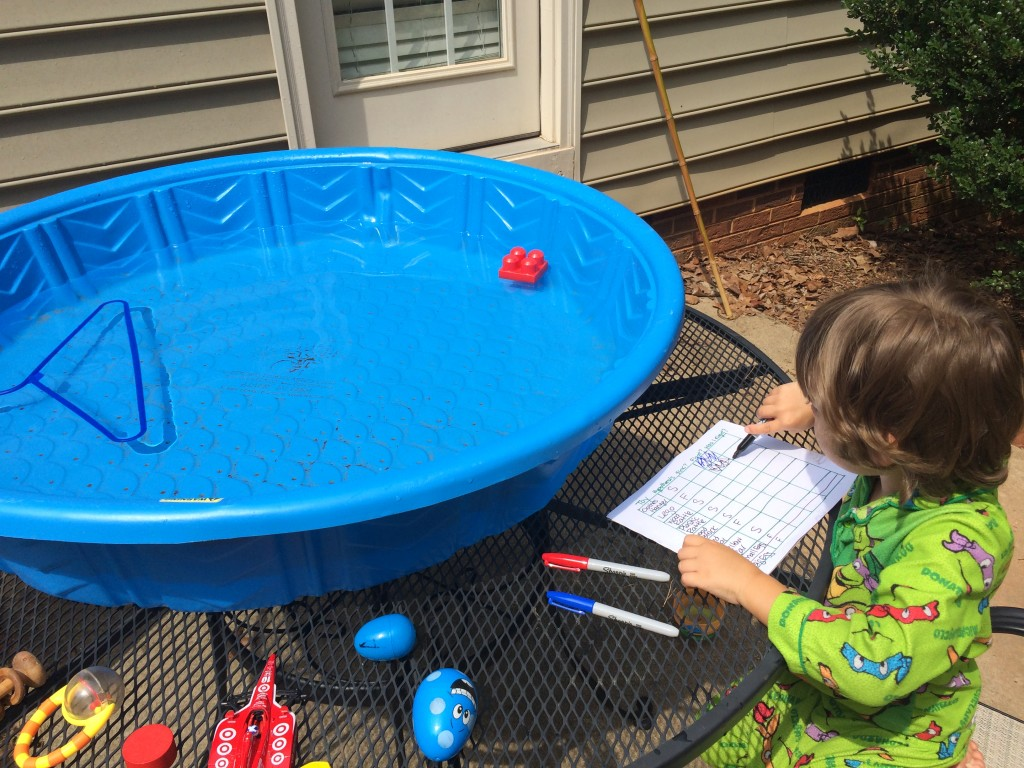 "The budding scientist in our ""Sink or Float"" experiment."