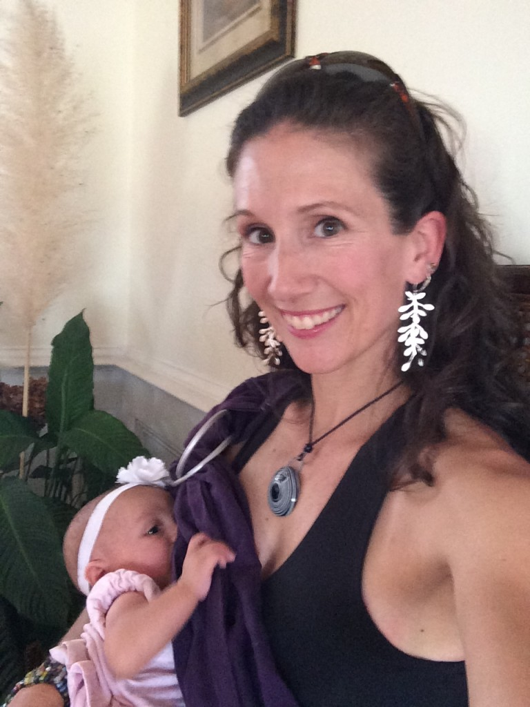 Stonewear Lyra Dress + Ring Sling = perfect nursing combination!