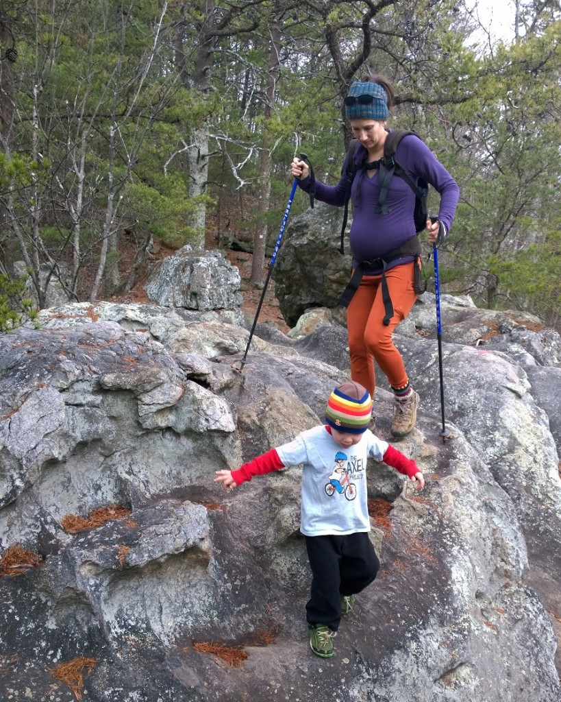San Juan Top and Baselayer bottoms on a family hike at 30 weeks.