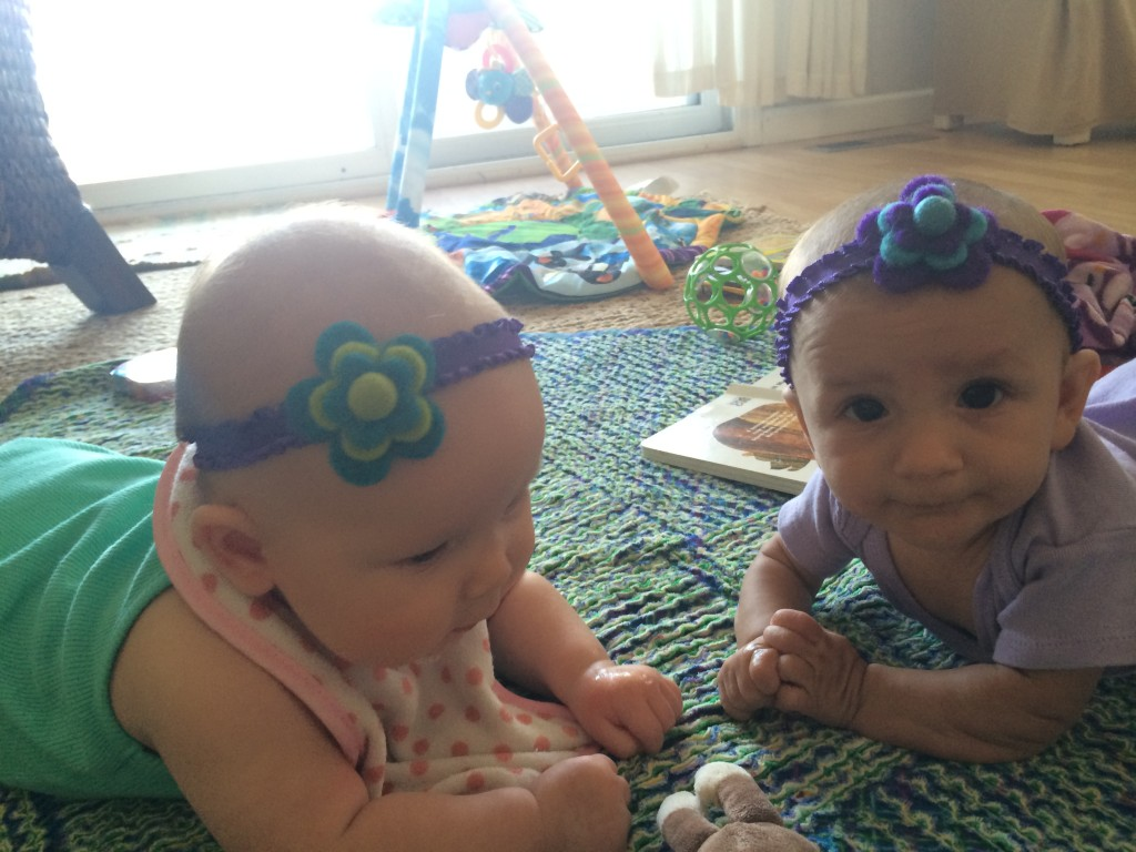 Baby Z chillin' with Cousin R earlier this summer.