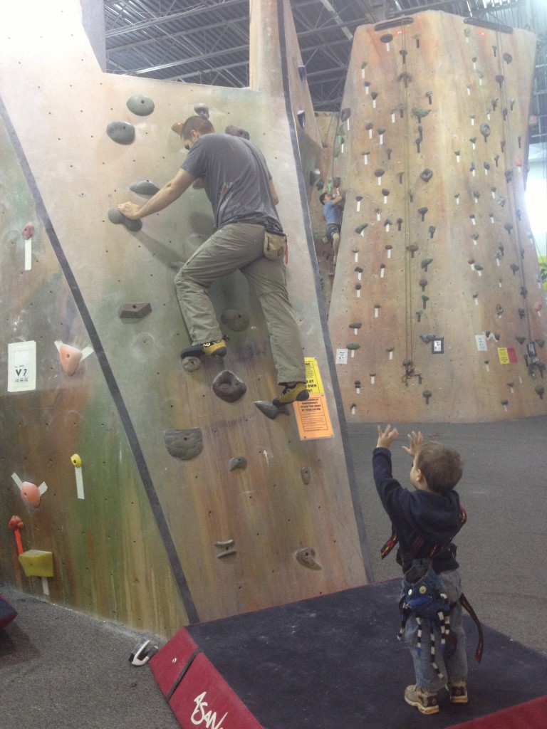 The only pic I could find of the Crag-Daddy was on the down-climb of our topout boulder...but he has a cute spotter!