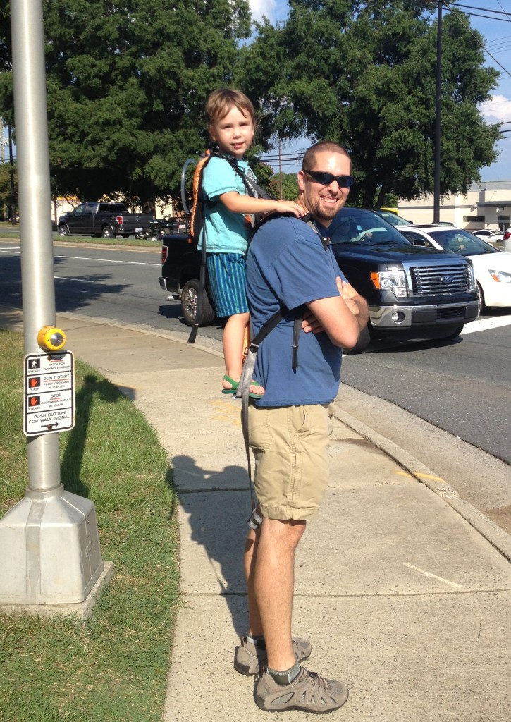 3 year old C and the Crag-Daddy walking to dinner on a Friday night.