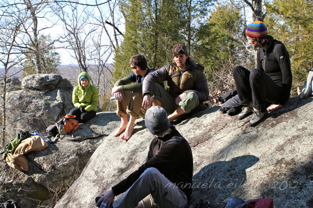 A bunch of sun-worshippers in between project burns at the Asheboro Boulderfield