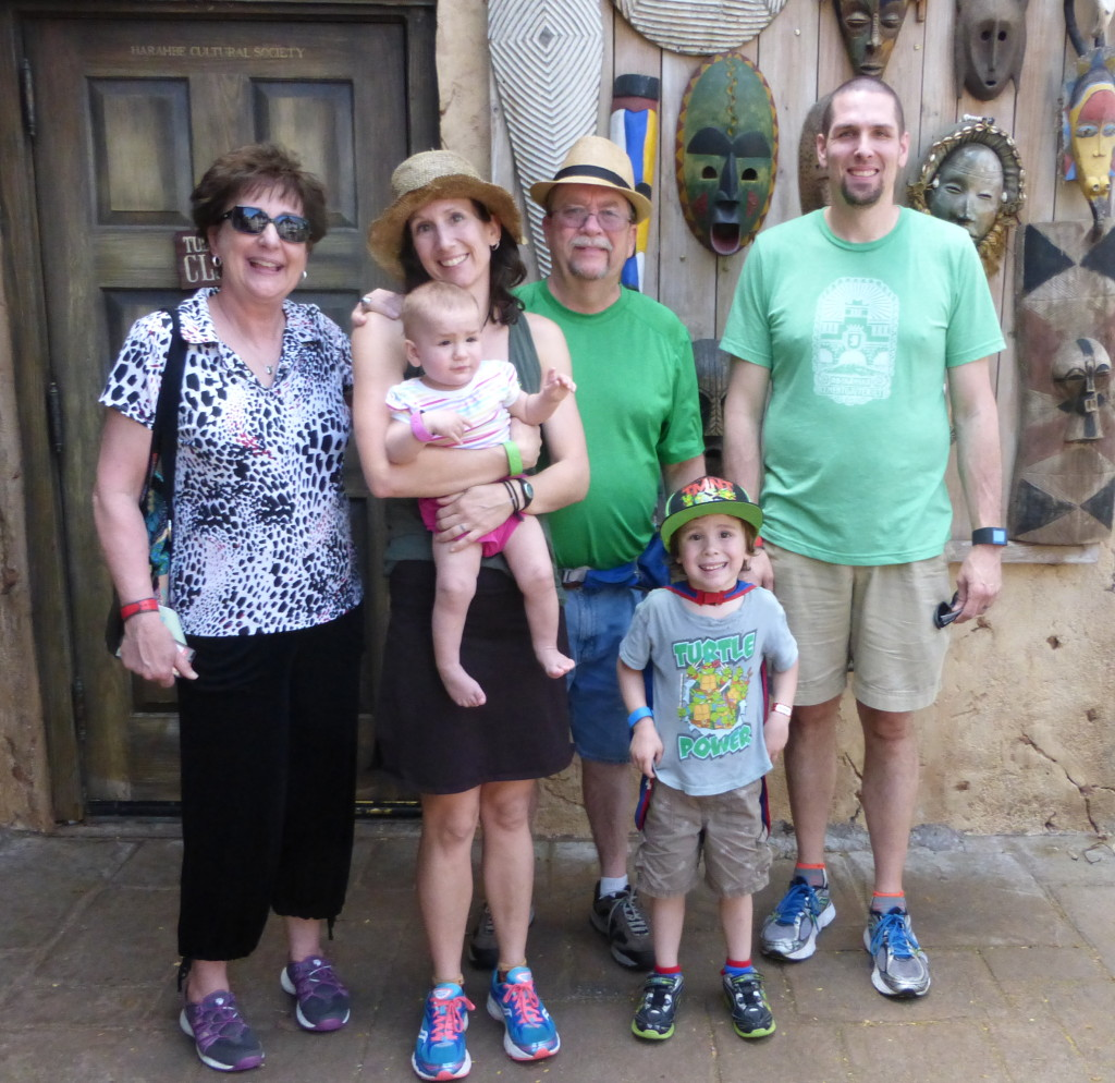 The only picture that included everyone, taken at Tusker House in Animal Kingdom