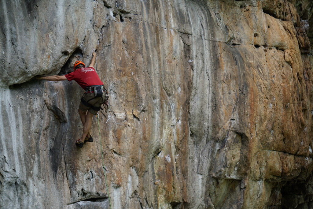 Steve with some fancy footwork on Slabster's Lament (5.12a)