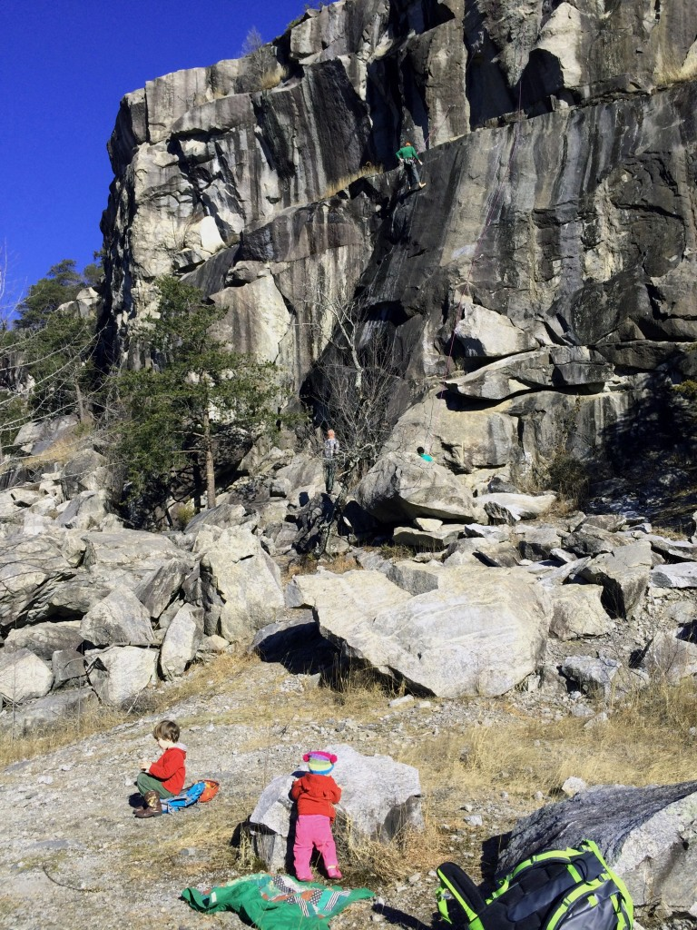 Crag-Daddy lowering off of Bullistics 5.10b as the kiddos play merrily at the base