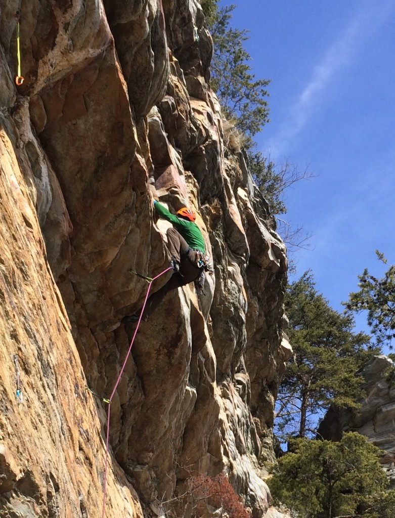 Crag-Daddy pulling hard on the roof of I'll Be Danned (5.10+)