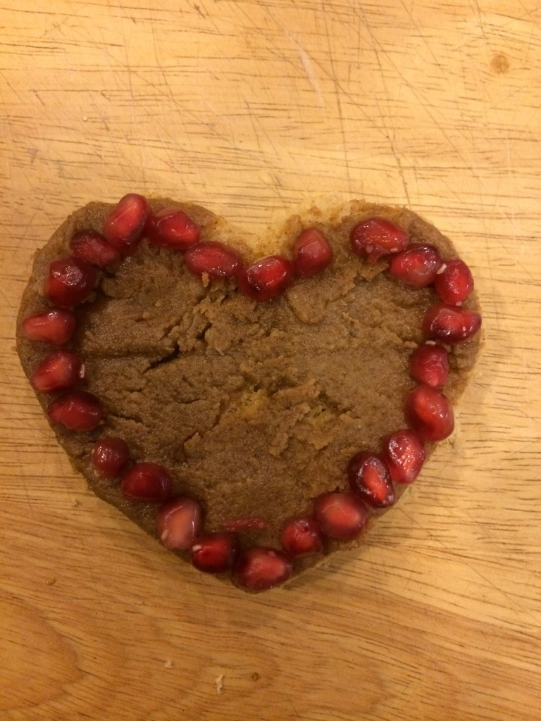 Valentine's Day fun - toast w/Maple Pecan Butter and pomegranate seeds!