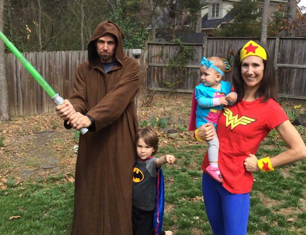 Jedi, Batman, Super Girl, and Wonder Woman at your service.