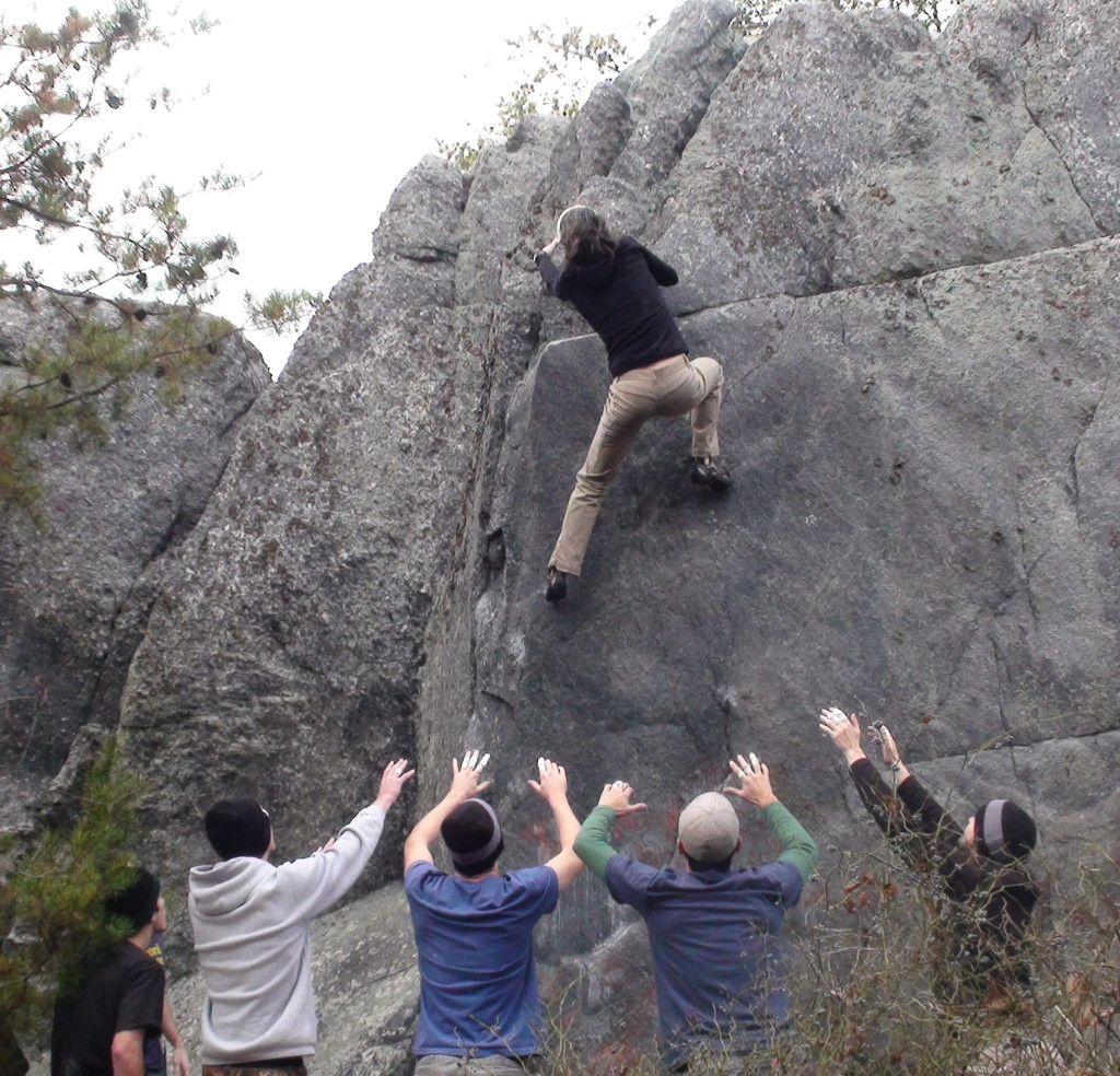 Girl power on Classic Arete at Dixon Boulders