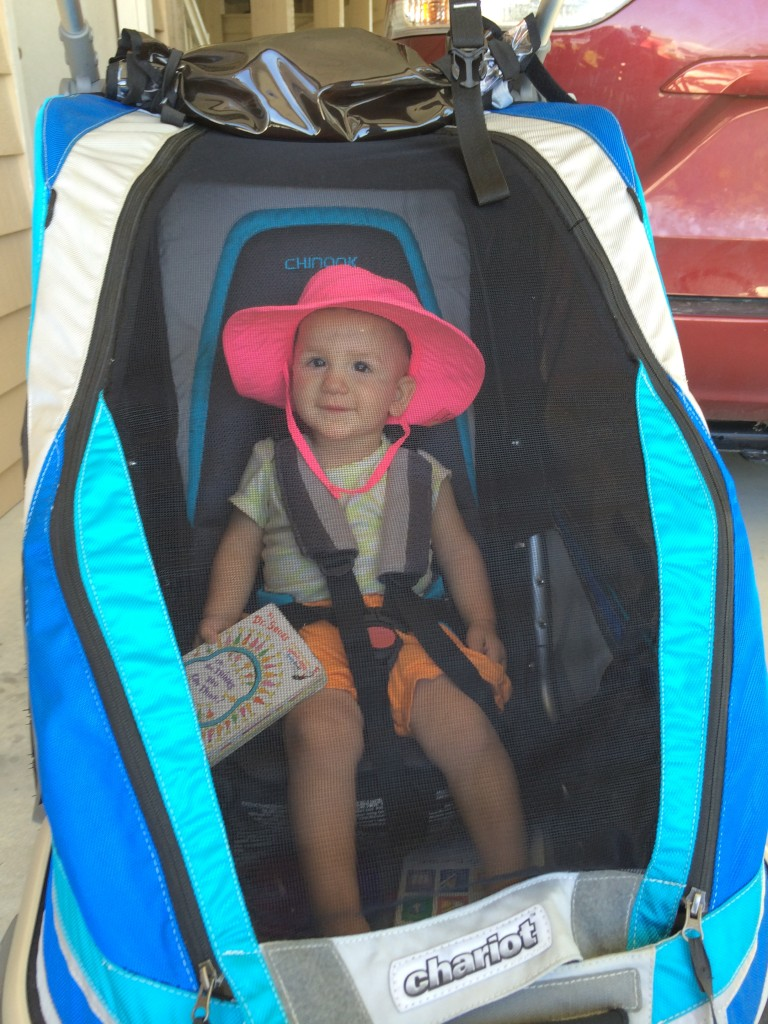 14 month old Baby Zu getting ready for a beach ride in our Chinook.