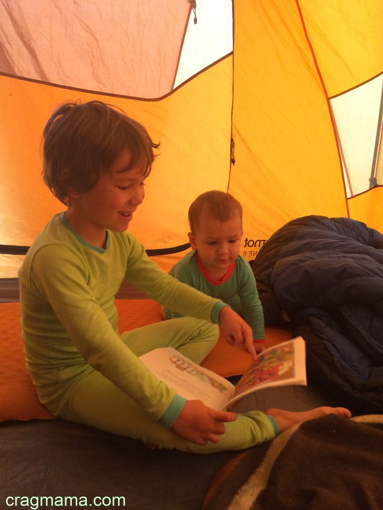Sibling sweetness in the tent.