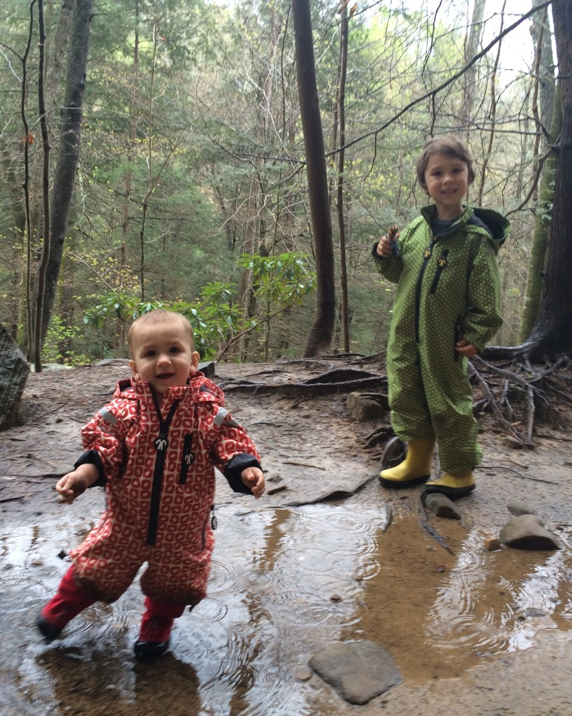 Thankful for Ducksday and Muddy Munchkin rain gear at Driveby Crag on Day 1!