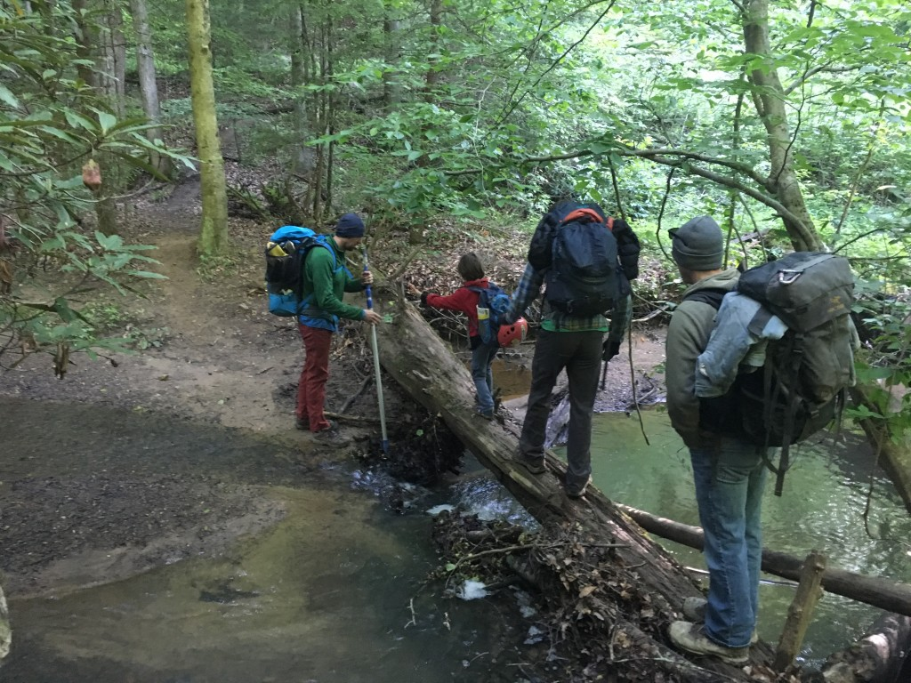 Crossing the creek at Miller Fork.