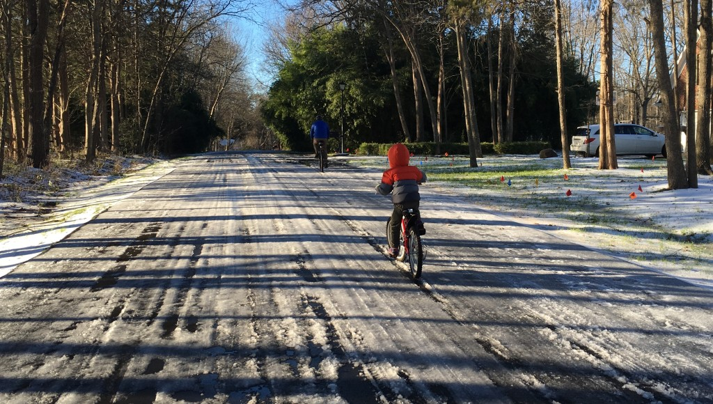Winter adventure biking in the neighborhood.