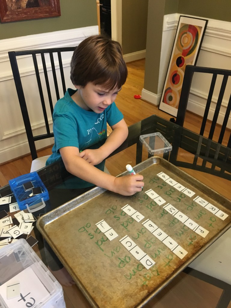 Making words with letter tiles