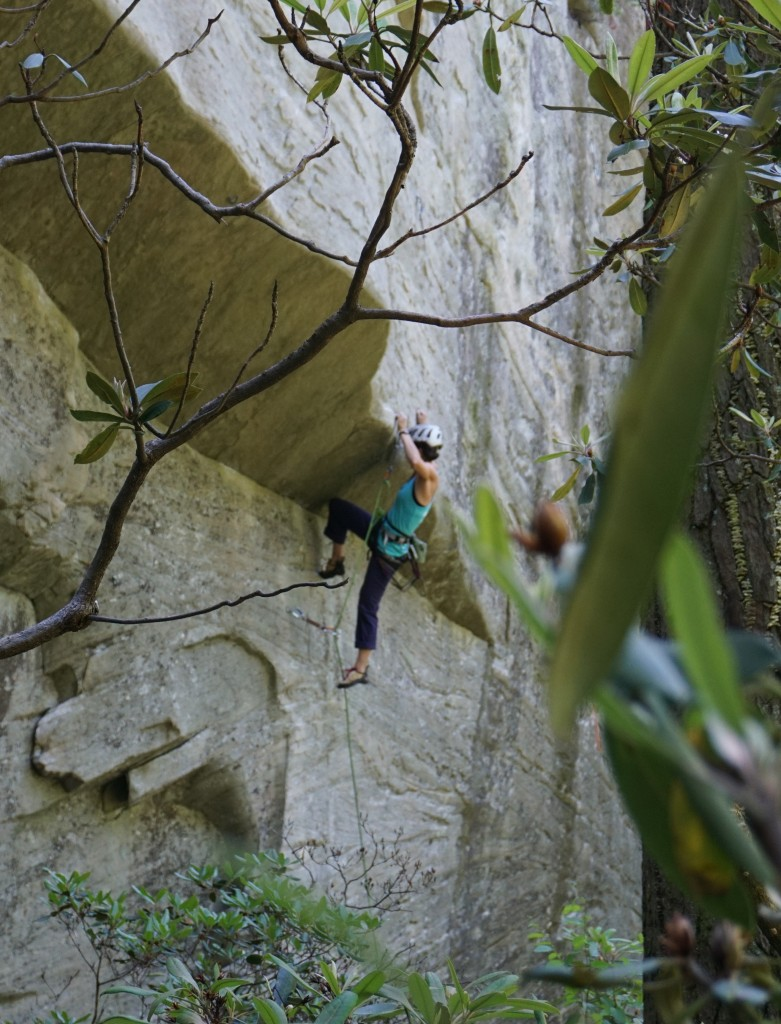 Approaching the roof crux, Line of Fire 12c