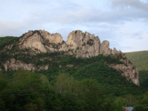 Seneca Rocks - N. Peak on the left, S. Peak on the right, Gunsight Notch is the dip in the middle.